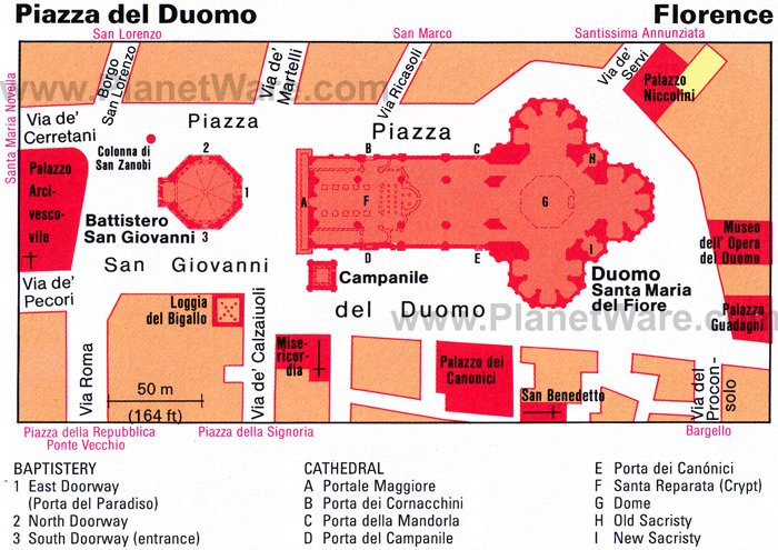 Piazza del Duomo - Layout map