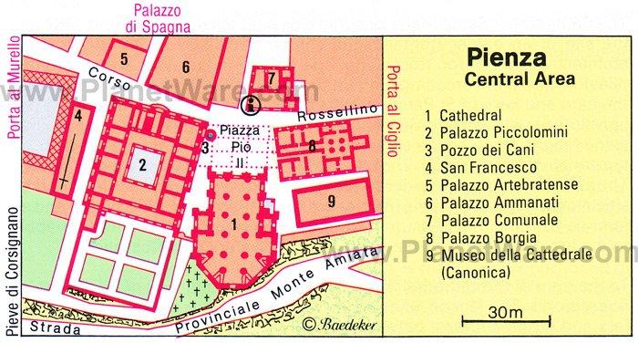 Карта города Пиенца (Pienza)