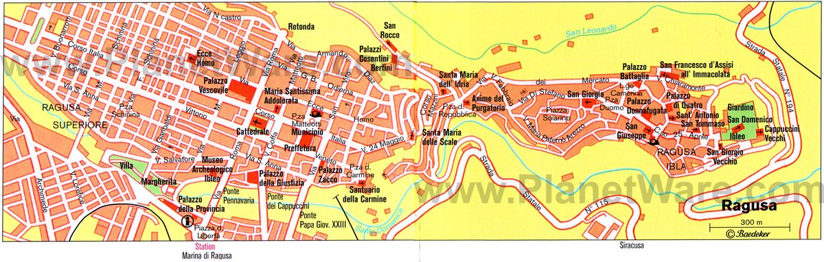 Ragusa Map - Tourist Attractions