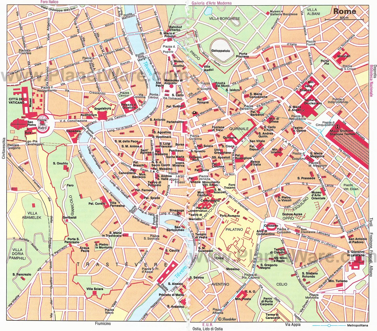 14 TopRated Tourist Attractions in Rome – Map Of Rome For Tourists