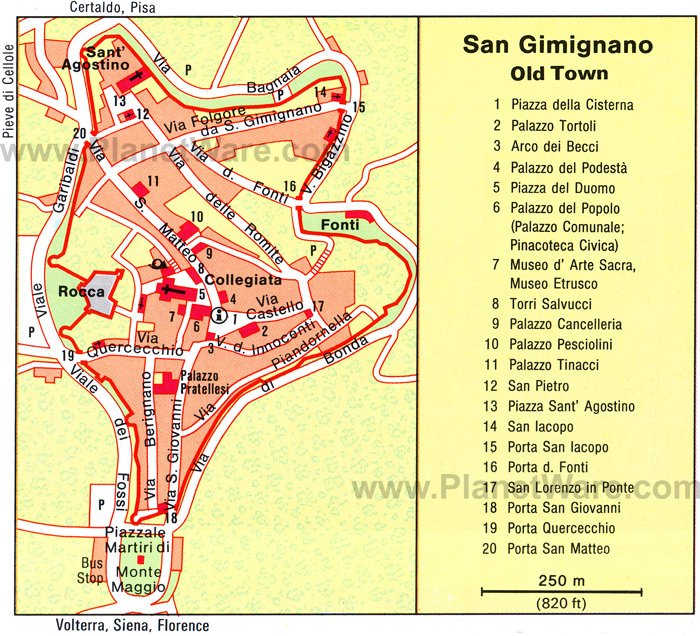 San Gimignano Map - Tourist Attractions