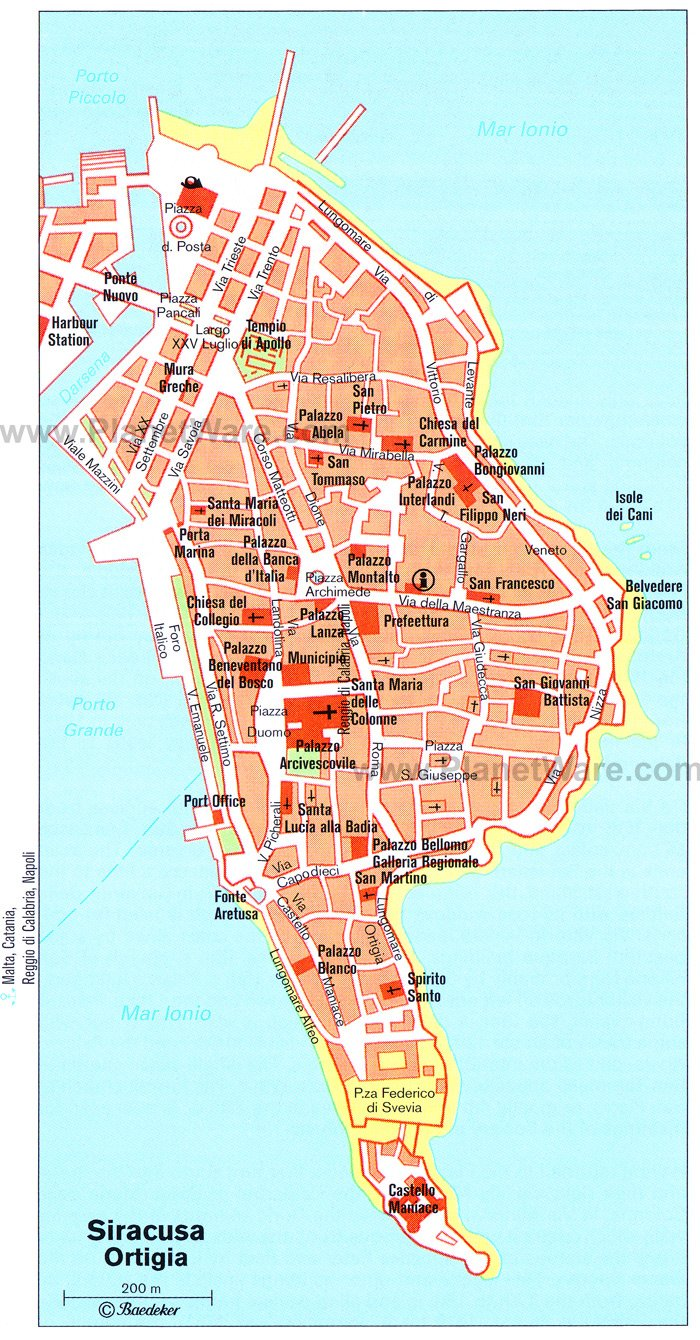 Siracusa Ortigia Map - Tourist Attractions