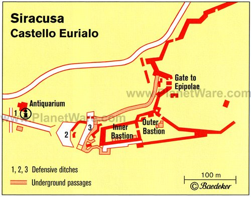 Syracuse - Castello Eurialo - Floor plan map