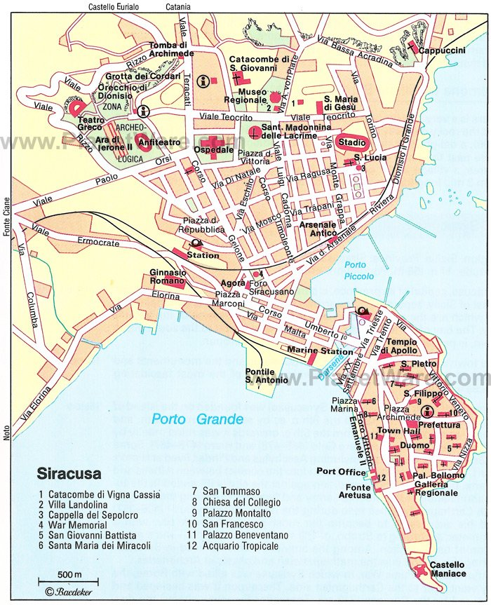 Syracuse Map - Tourist Attractions