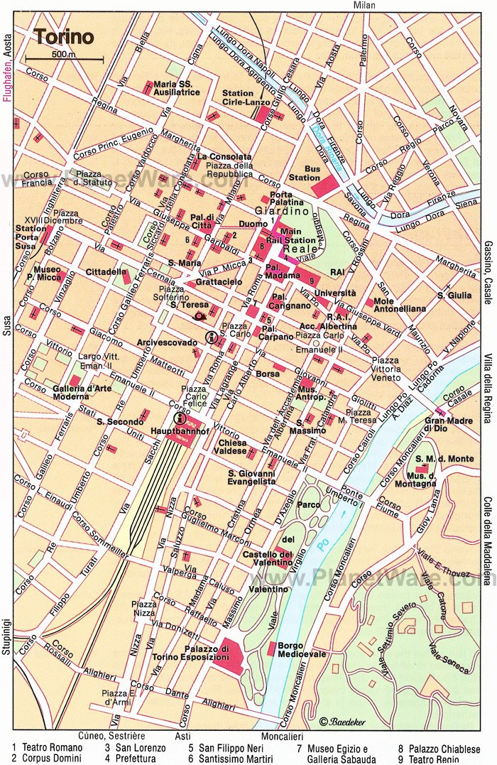 Torino Map - Tourist Attractions