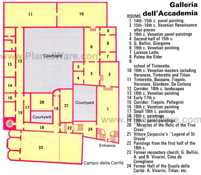 Venice - Galleria dell'Accademia - Floor plan map