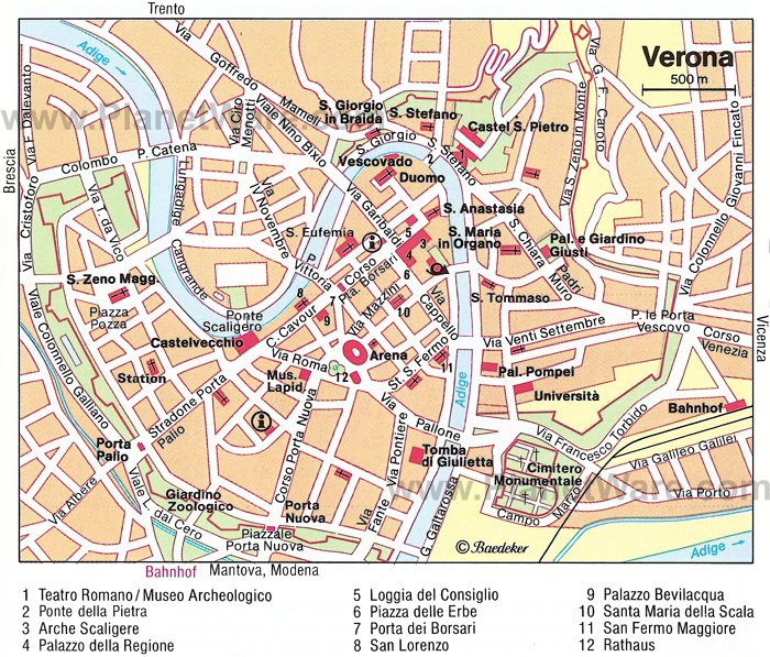 Verona Map - Tourist Attractions