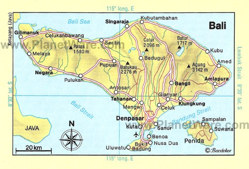 Bali Map - Tourist Attractions