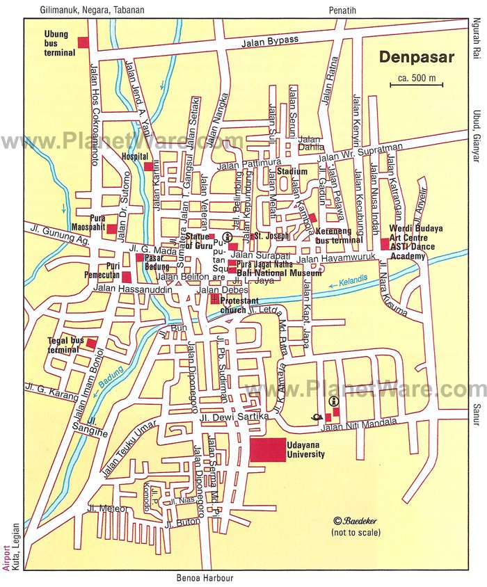 Denpasar Map - Tourist Attractions