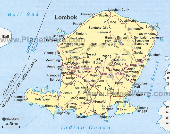 Lombok Map. The island of Lombok is located southeast of Bali and is an up