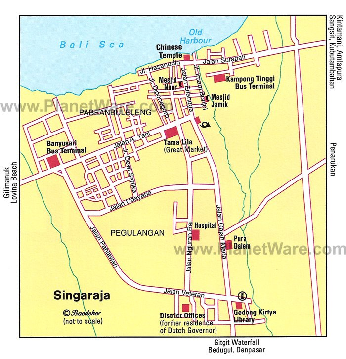 Detail Singaraja Location Map for Travelers Guide,Location Map of Singaraja Bali,Singaraja Accommodation Hotels Destinations Attractions Maps,Yudha Mandalatama Independence Monument, Pura Agung Jagatnatha,Gedong Kirtya,things to do trips hotel singaraja buleleng restaurants airport