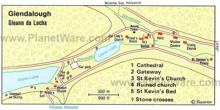 Glendalough - Mapa