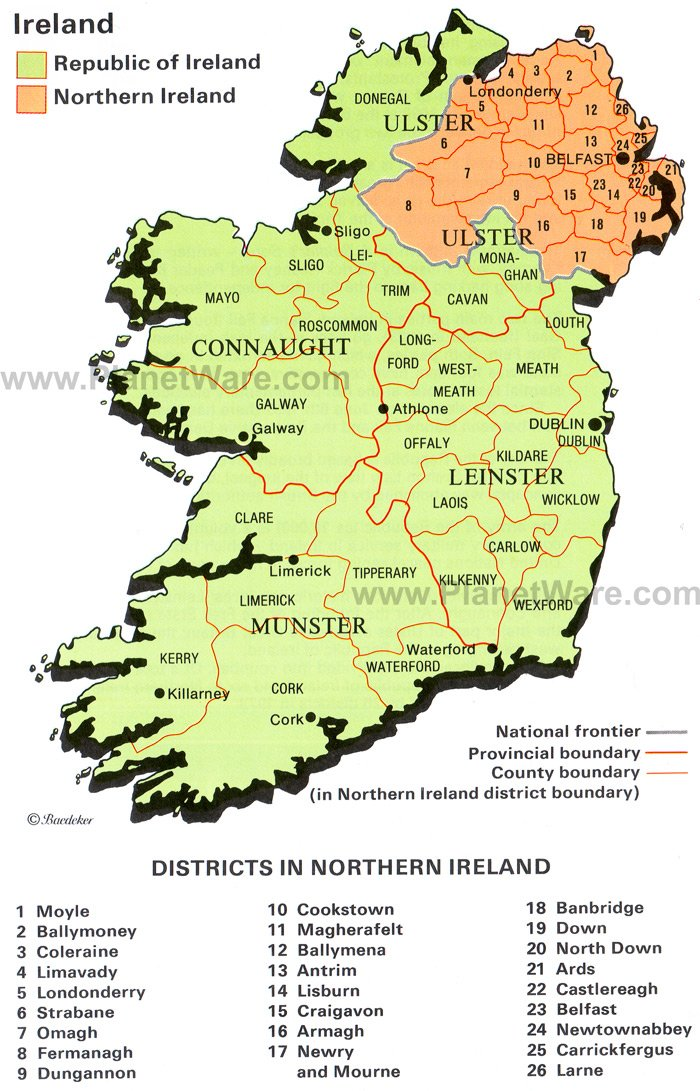 Map of Ireland – Ireland Tourist Attractions Map
