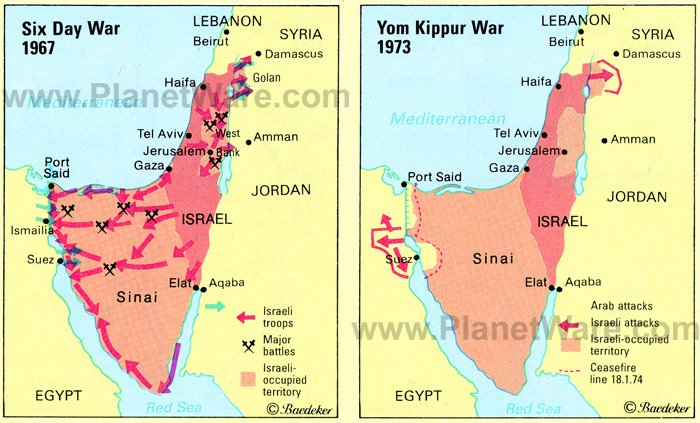 The movement of troops in the Sinai in both 1967 and 1973