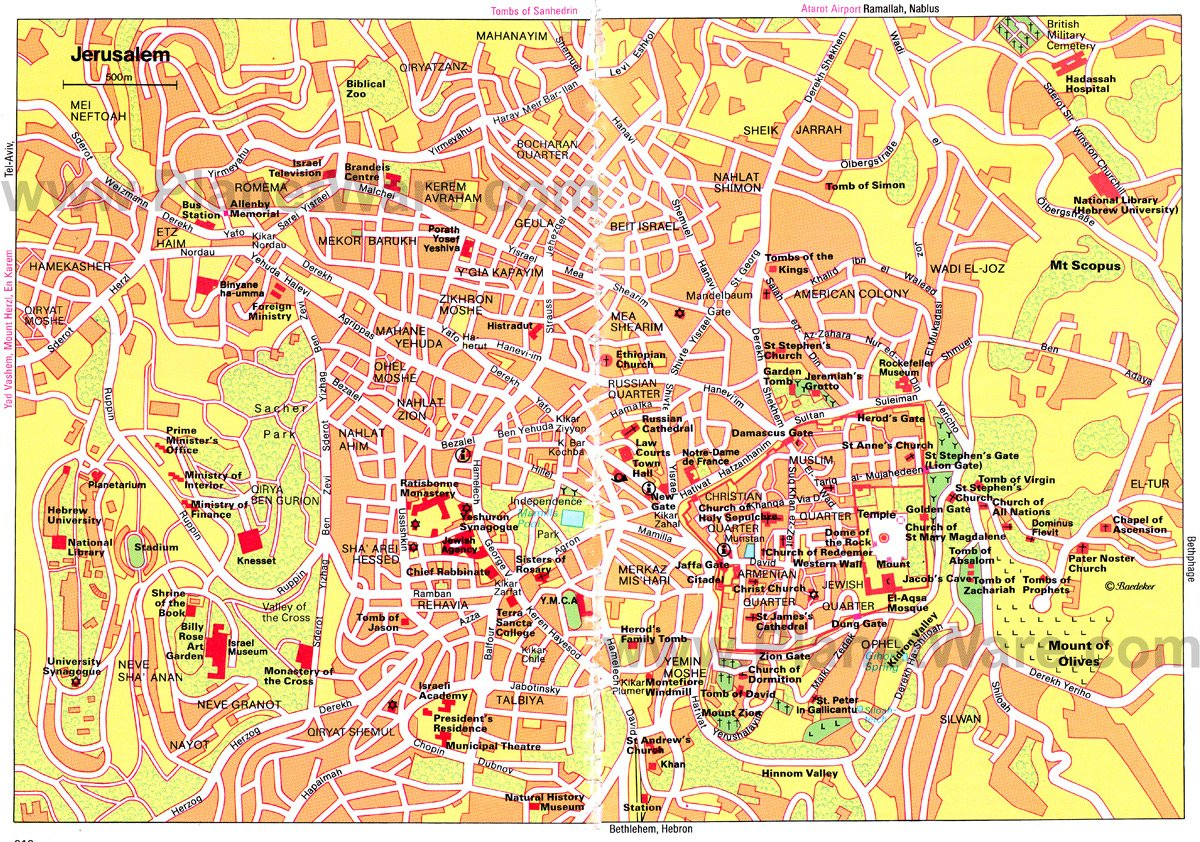 Jerusalem Map - Tourist Attractions