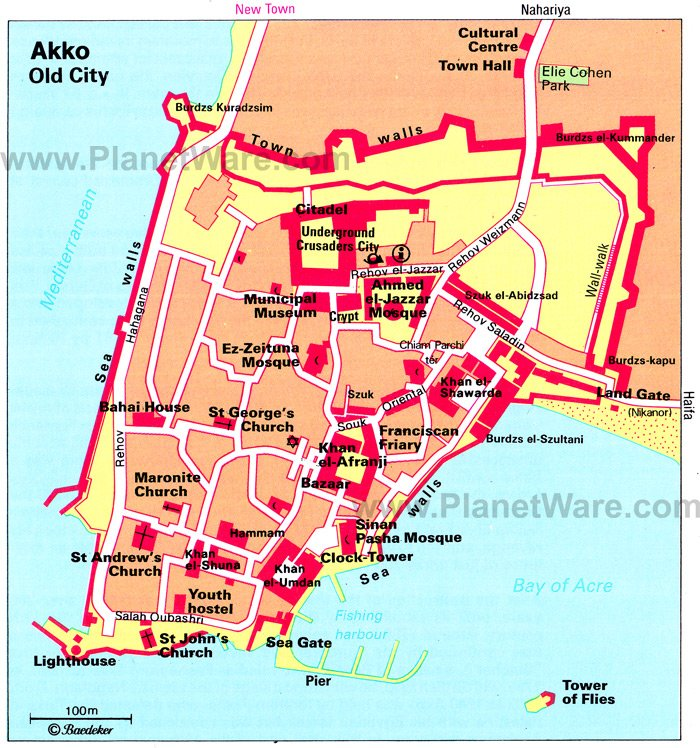 Akko - Old City Map - Tourist Attractions