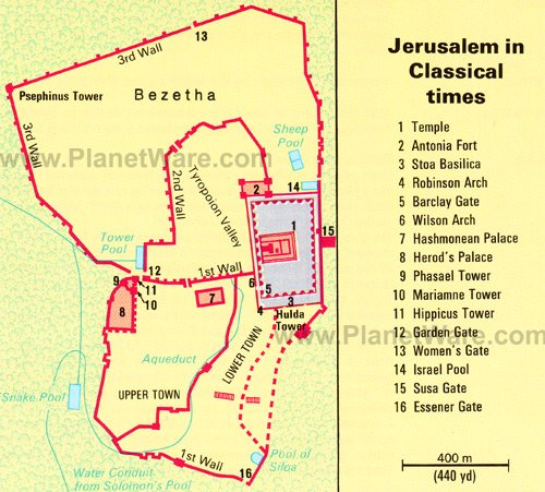 Ancient Jerusalem Map - Tourist Attractions