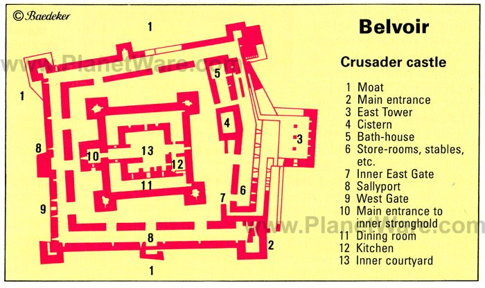 Belvoir - Crusader Castle - Floor plan map