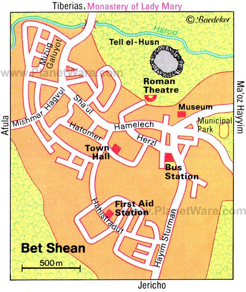 Bet Shean Map - Tourist Attractions