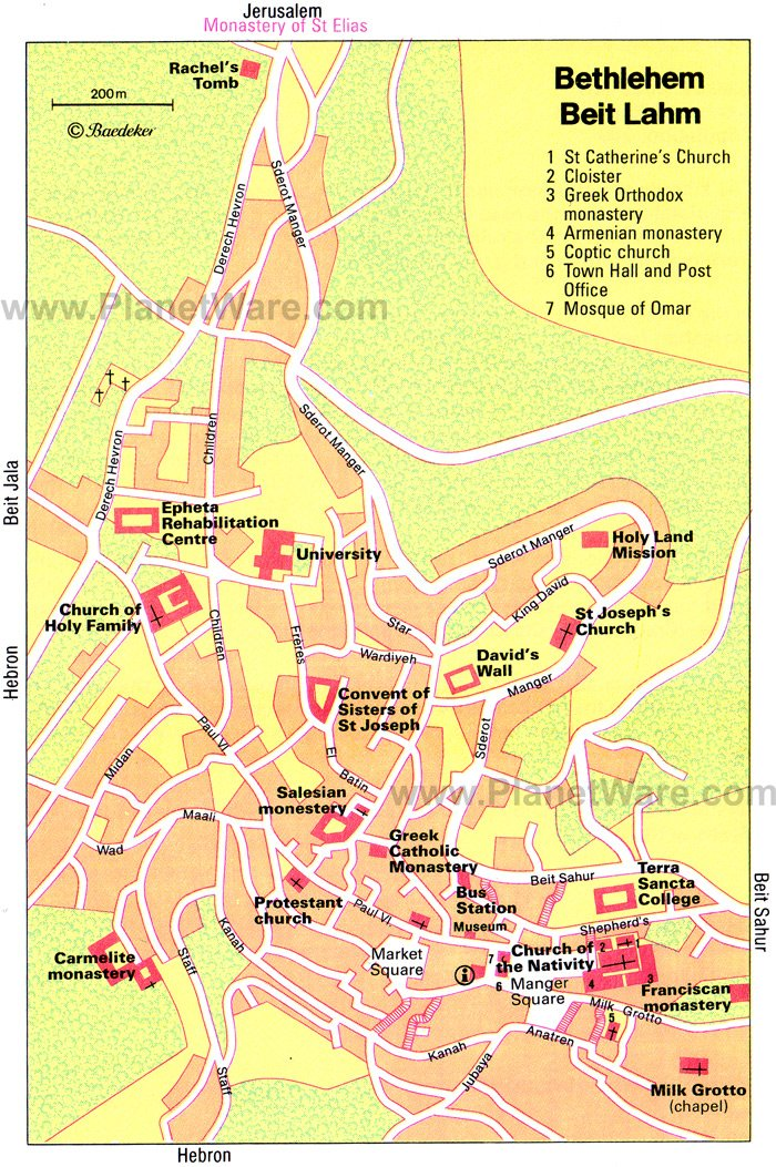 Bethlehem Map - Tourist Attractions