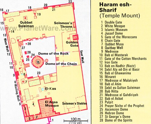 Exploring Haram alSharif Temple Mount A Visitors Guide – Jerusalem Tourist Map