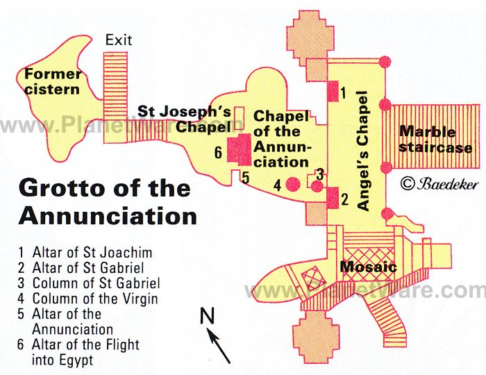 Nazareth - Grotto of the Annunciation - Floor plan map
