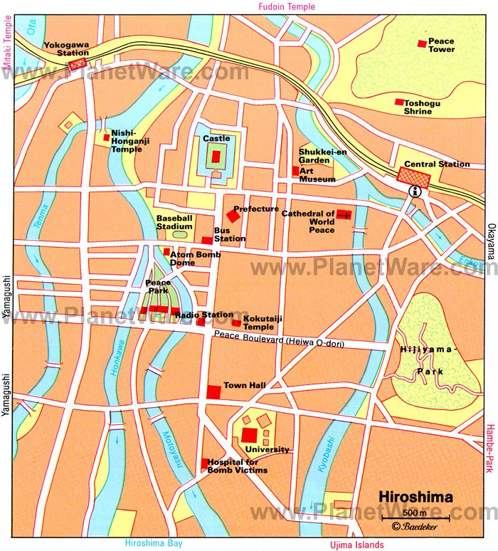 Hiroshima Map - Tourist Attractions