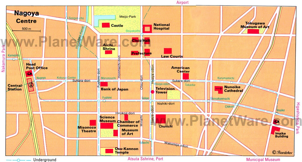 Nagoya Centre Map - Tourist Attractions