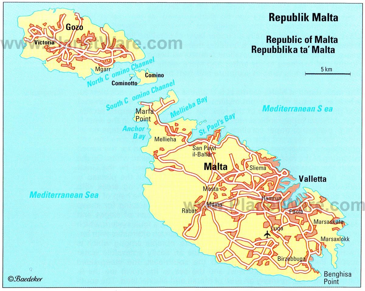 Malta Island Map Malta Travel Guide | PlanetWare Malta Island Map