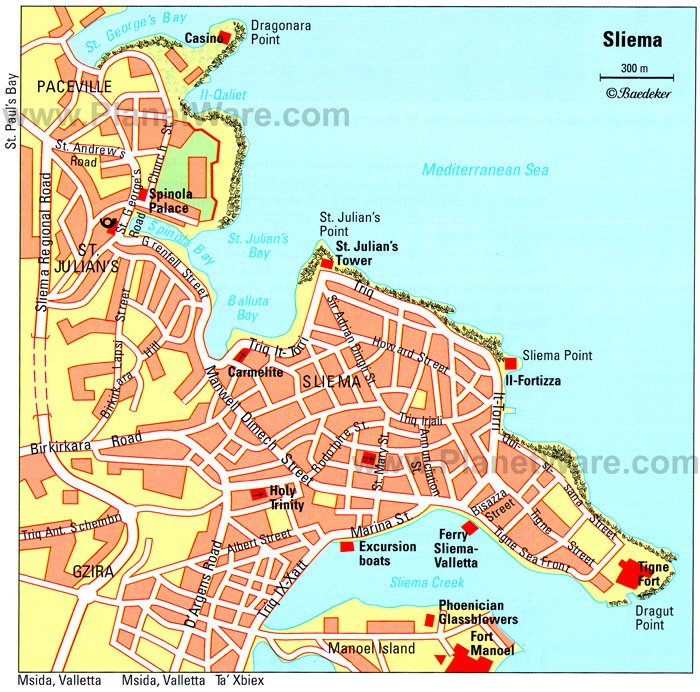 Sliema Map - Tourist Attractions