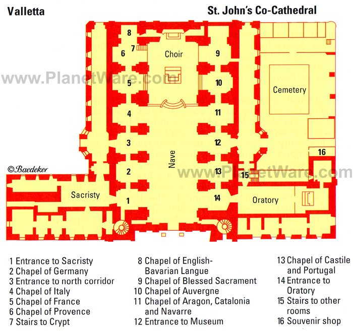 St.Johns Co-Cathedral - Floor plan map