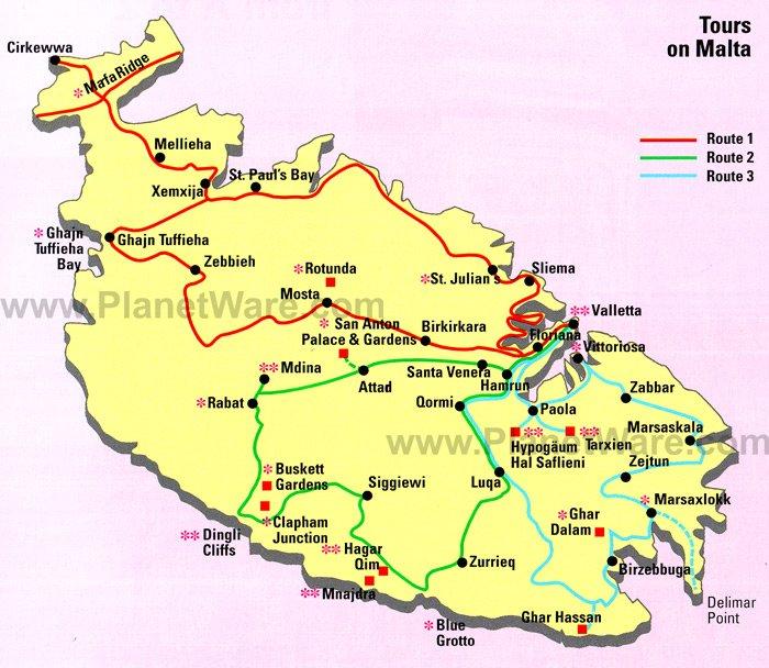 Map Of Tours On Malta PlanetWare - Malta map
