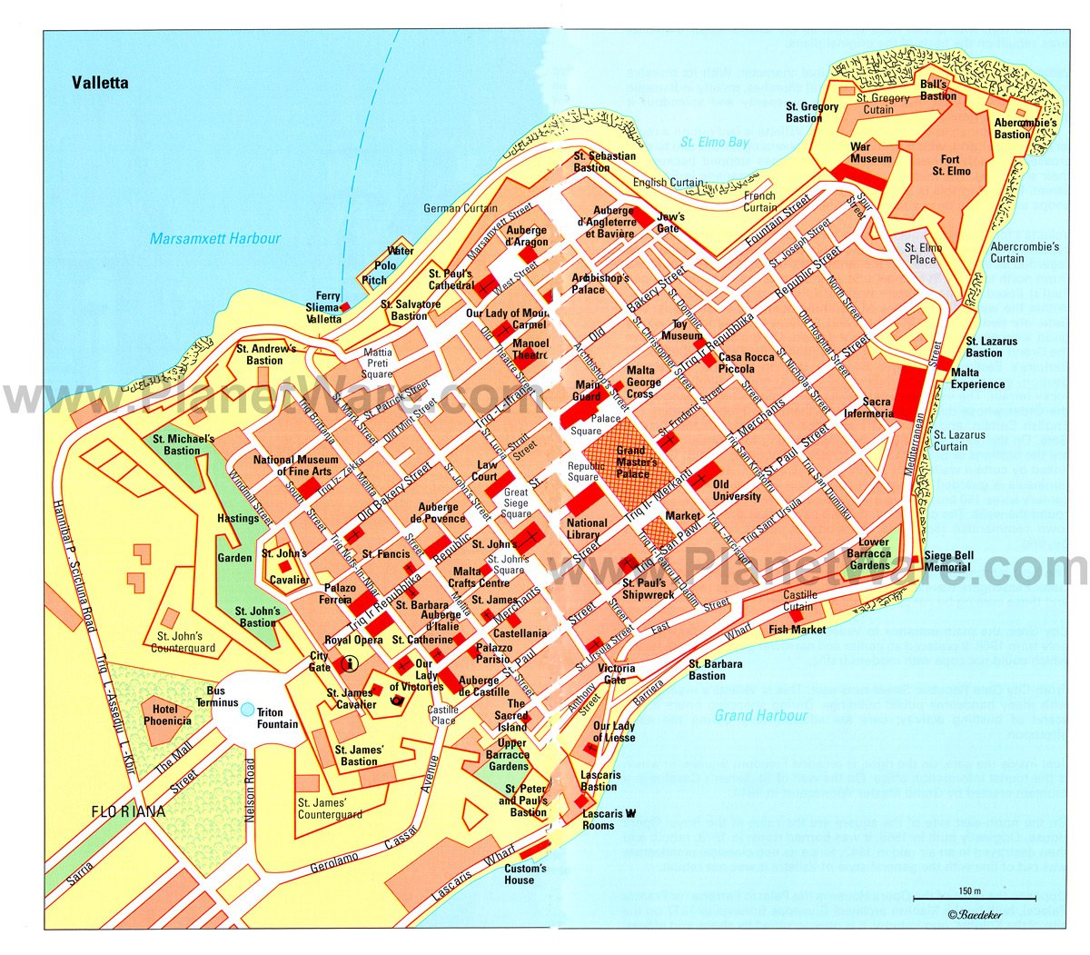Valletta Map - Tourist Attractions