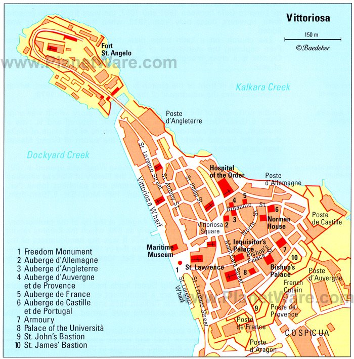 Vittoriosa Map - Tourist Attractions