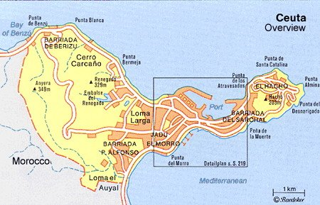 Map Of Spain Morocco.Ceuta Morocco Cruise Port Of Call