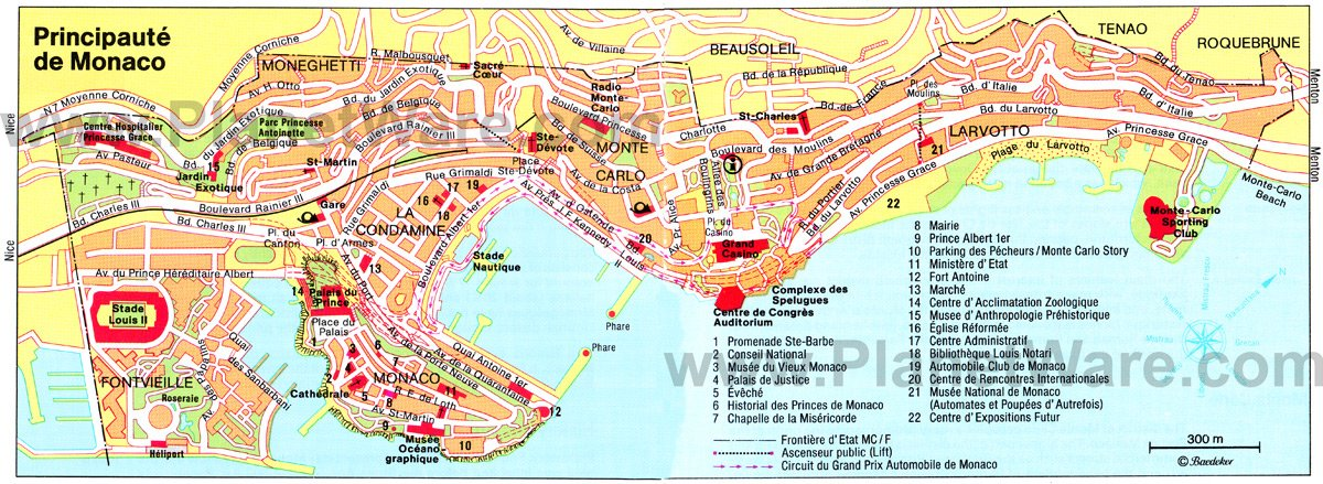Monaco Map - Tourist Attractions