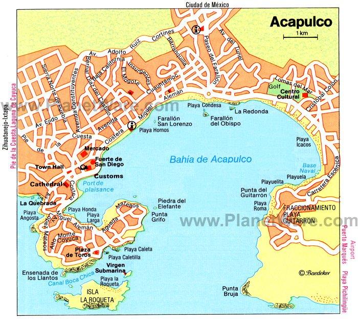 Acapulco Mexico Cruise Port Of Call: Map Of Mexico Acapulco At Slyspyder.com
