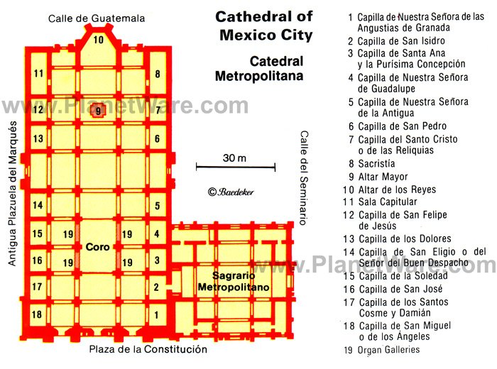 Cathedral of Mexico City (Catedral Metropolitana) - Floor plan map