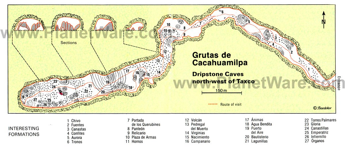 Grutas de Cacahuamilpa (Dripstone Caves north-west of Taxco) map