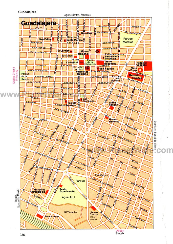 Guadalajara Map - Tourist Attractions