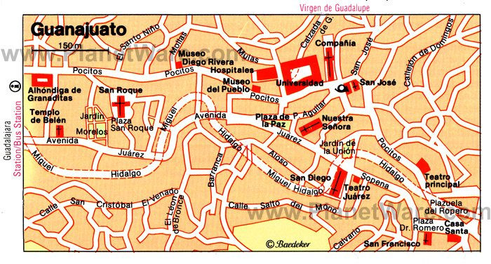 Guanajuato Map - Tourist Attractions