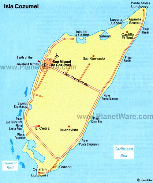 Isla Cozumel Map - Tourist Attractions
