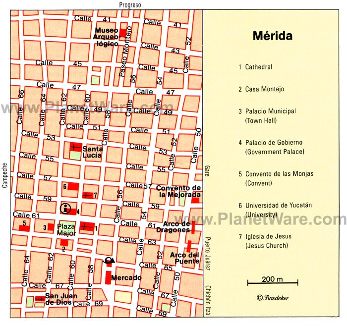 Merida, Mexico Map - Tourist Attractions