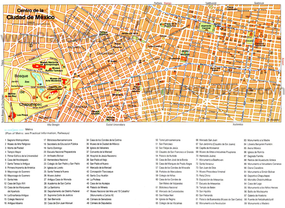 mexico city map tourist attractions
