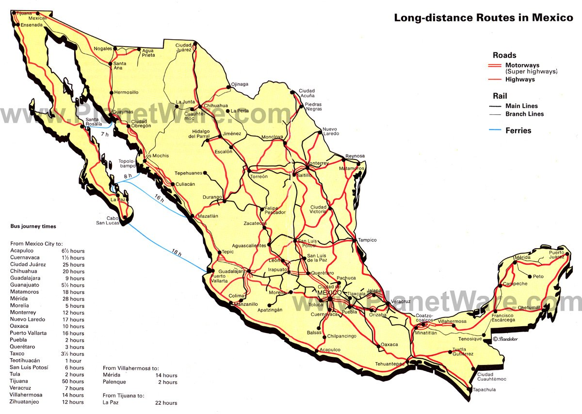 mexico long distance routes by road rail and ferry map