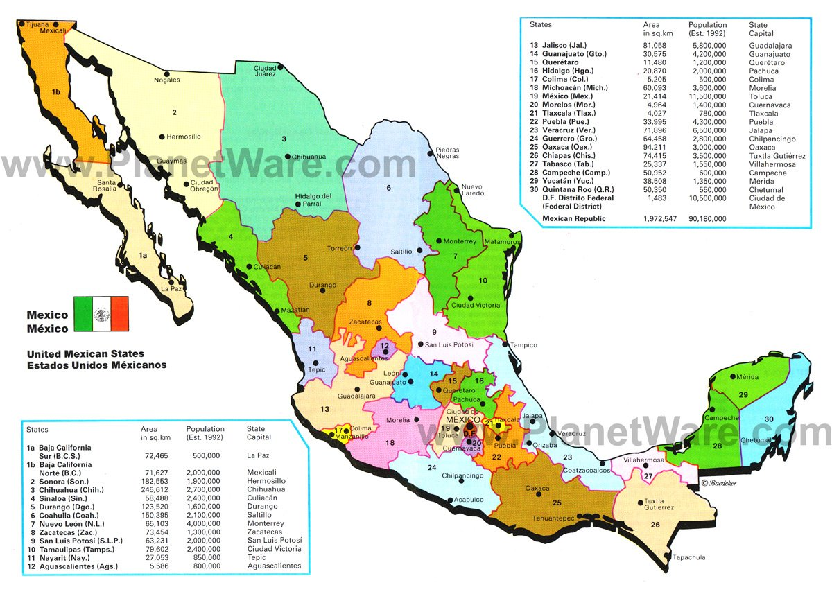 Map of Mexico- Mexican States | PlanetWare