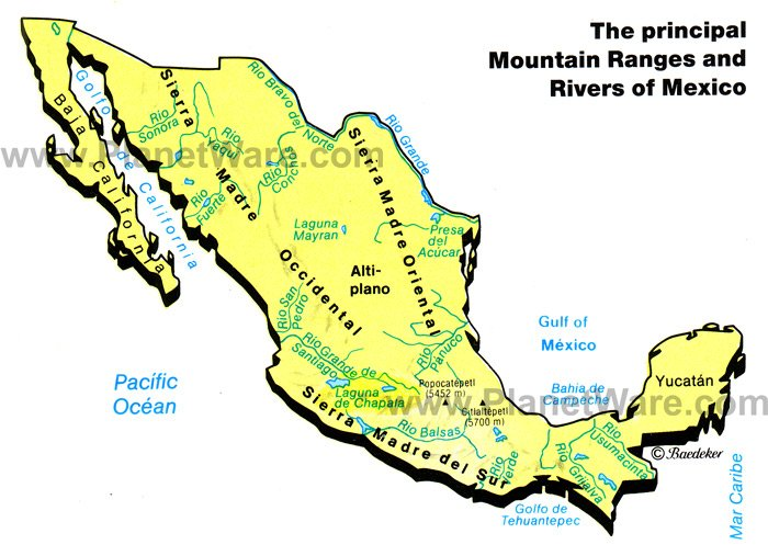 Map Of Mexico Mountain Ranges Rivers PlanetWare - Us map mountains and rivers