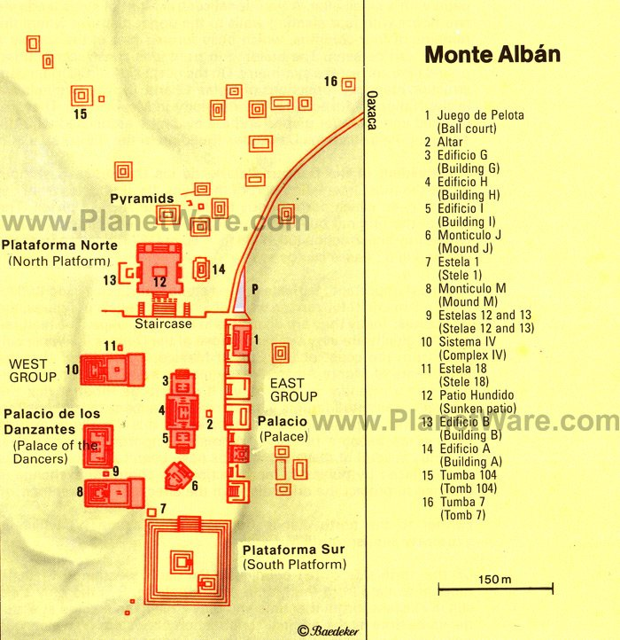 Monte Alban - Site map