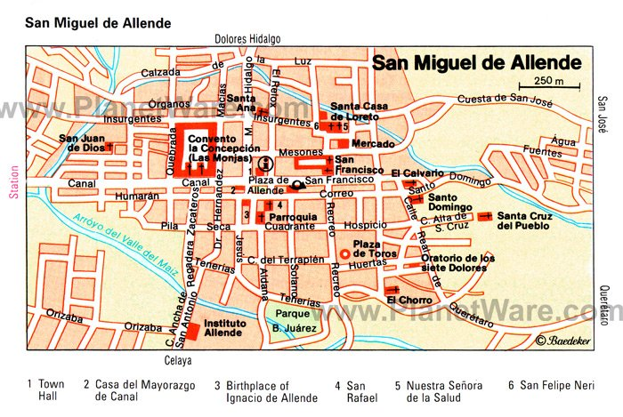 San Miguel de Allende Map - Tourist Attractions