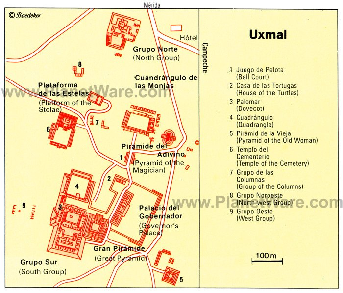 Uxmal - Site map